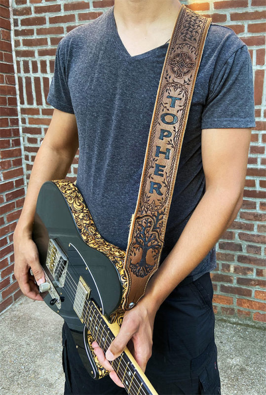 "BurnWizard Intricate ""Tree of Life"" Celtic Cross & Cable Braid Leather Guitar Strap"