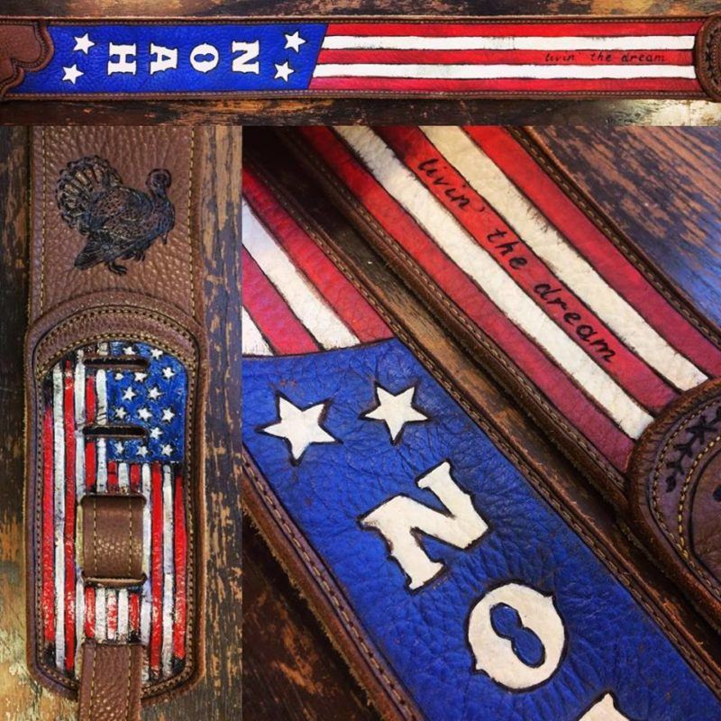 BurnWizard American flag guitar strap custom burnmethod