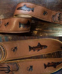 BurnWizard Fly Fishing leather custom guitar strap