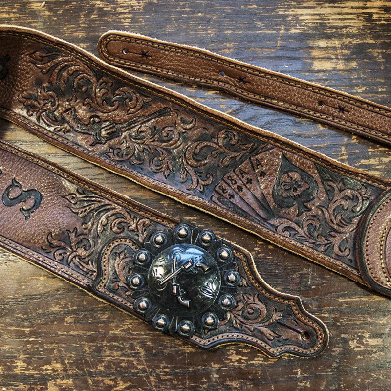 Outlaw western scrollwork BurnWizard custom guitar strap