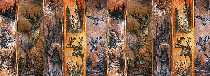 Burnwizard nature woodland scene hunt custom guitar strap