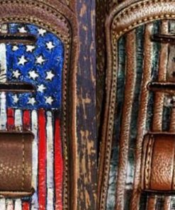 BurnWIzard American flag guitar strap leather