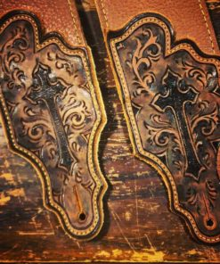 BurnWizard cross religious custom leather guitar strap