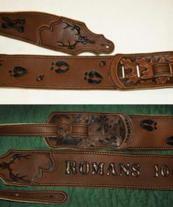 BurnWIzard custom camo deer hunt guitar strap Romans 10:15
