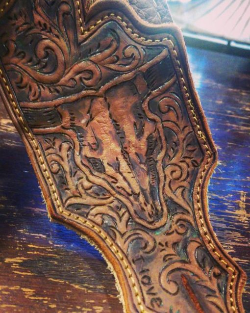 BurnWizard custom leather guitar strap steer cow skull scrollwork
