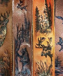 Burnwizard nature woodland scene hunt custom guitar strap moose deer duck bear