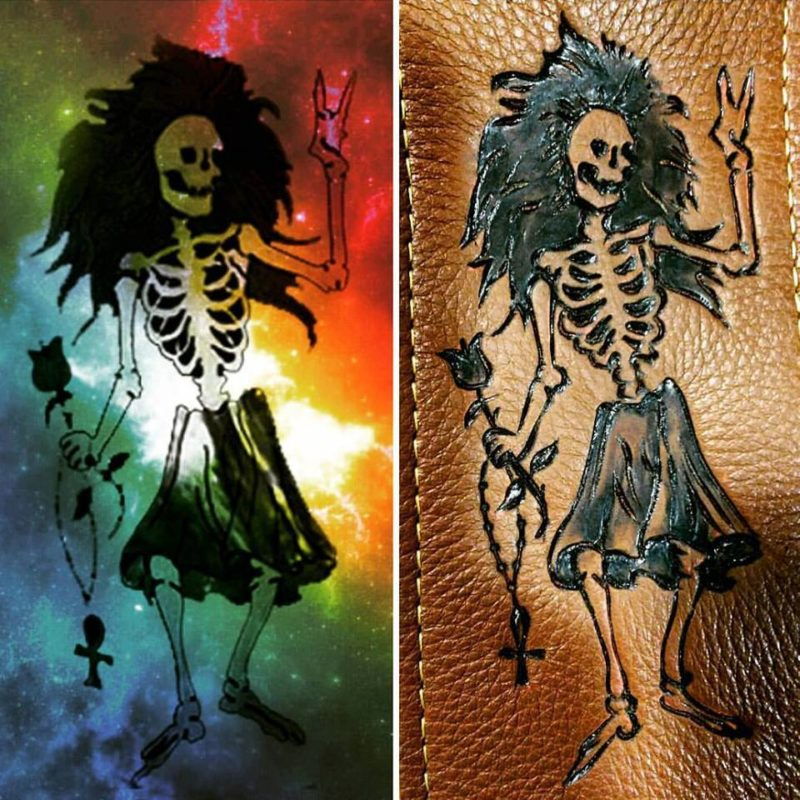 Burnwizard grateful dead rosebud leather tribute fan art rose skeleton