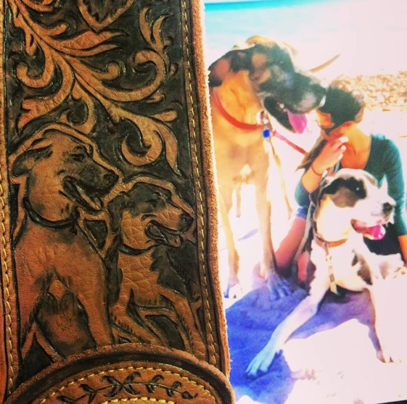 Burnwizard pet dog portrait leather engraving custom guitar strap
