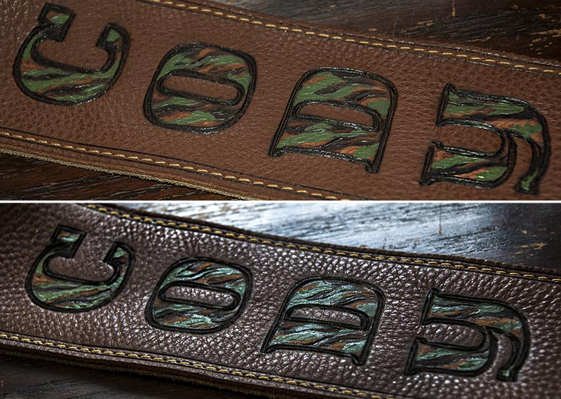 Burnwizard camo font personalized guitar strap